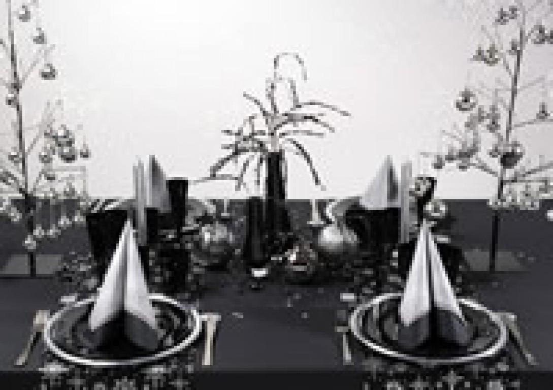 Id es de d coration de table de no l - Deco table noel argent et blanc ...