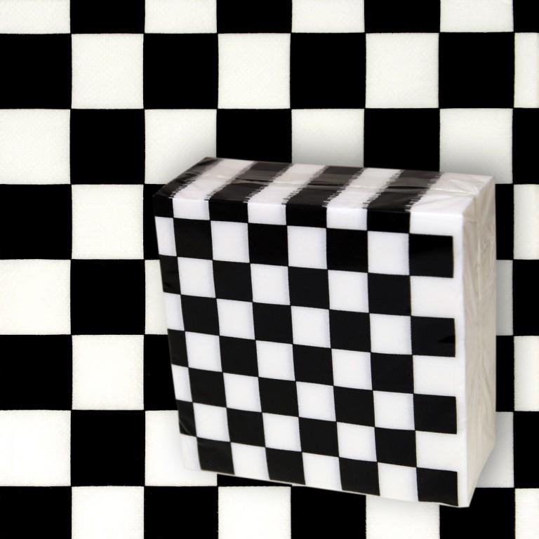 50 serviettes c li ouate damier noir blanc - Serviette de table noir ...