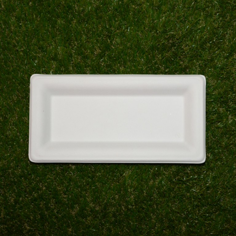 6 assiettes rectangle en fibre de canne sucre bio blanc - Fibre de canne a sucre ...