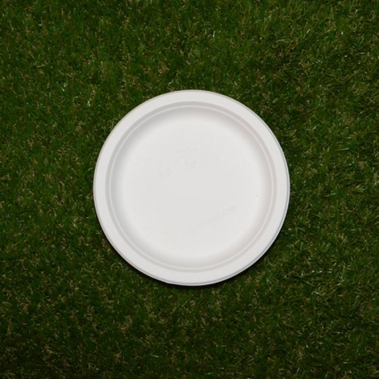 12 assiettes rondes en fibre de canne sucre bio blanc - Fibre de canne a sucre ...